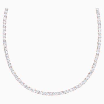 Deluxe náhrdelník Tennis, Bílý, Pozlacený růžovým zlatem - Swarovski, 5494607