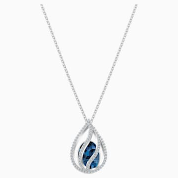Energic Pendant, Blue, Rhodium plated - Swarovski, 5494970