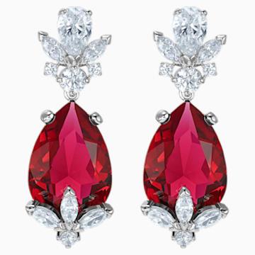 Louison Drop Pierced Earrings, Red, Rhodium plated - Swarovski, 5495078