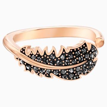 Prsten s motivem Naughty, Černý, Pozlacený růžovým zlatem - Swarovski, 5495296