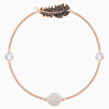 Swarovski Remix Collection Feather Strand, schwarz, Rosé vergoldet - Swarovski, 5495340