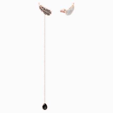 Naughty Pierced Earrings, Black, Rose-gold tone plated - Swarovski, 5495373