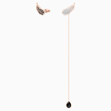 Naughty stekker záras fülbevaló, fekete, rózsaarany színű bevonattal - Swarovski, 5495373