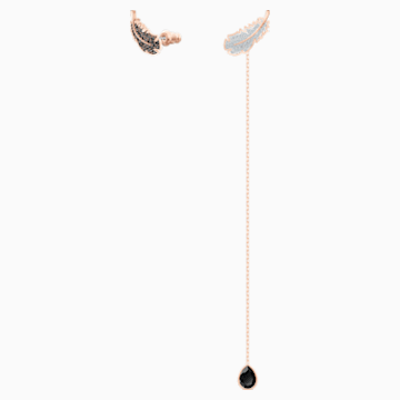 Pendientes Naughty, negro, Baño en tono Oro Rosa - Swarovski, 5495373