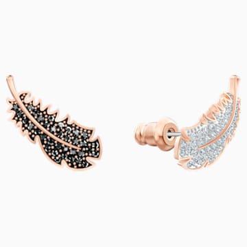 Τρυπητά σκουλαρίκια Naughty, μαύρα, επιχρυσωμένα σε χρυσή ροζ απόχρωση - Swarovski, 5495373