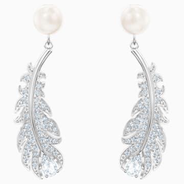 Nice 穿孔耳环, 白色, 镀铑 - Swarovski, 5496052