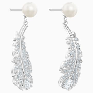 Nice Pierced Earrings, White, Rhodium plated - Swarovski, 5496052