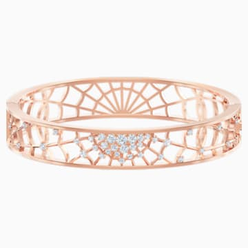 Precisely Cuff, White, Rose-gold tone plated - Swarovski, 5496491