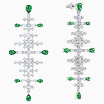 Perfection Chandelier穿孔耳環, 綠色, 鍍白金色 - Swarovski, 5496837