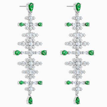 Perfection-kroonluchtersteekoorbellen, Groen, Rodium-verguld - Swarovski, 5496837