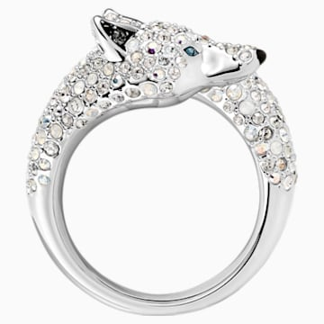 Polar Bestiary Wolf Cocktail Ring, Multi-colored, Rhodium plated - Swarovski, 5497659