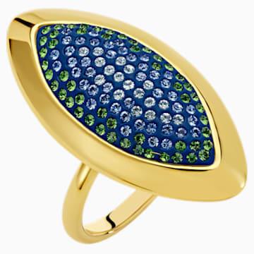 Anello Evil Eye, grande, blu, placcato color oro - Swarovski, 5497661