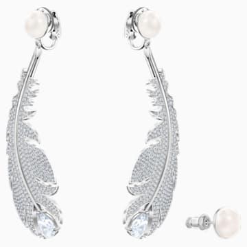 Boucles d'oreilles clip Nice, blanc, Métal rhodié - Swarovski, 5497866