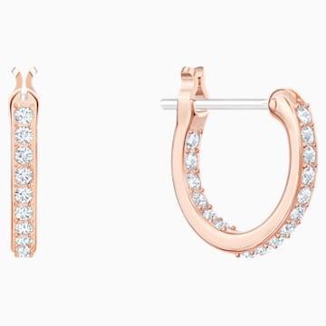 Nice Серьги-обручи, Белый Кристалл, Покрытие оттенка розового золота - Swarovski, 5497872