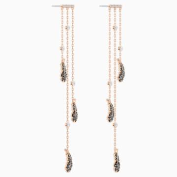 Pendientes chandelier Naughty, negro, Baño en tono Oro Rosa - Swarovski, 5497873