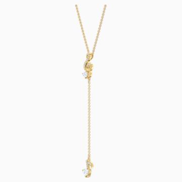 Pleasant Y Necklace, White, Gold-tone plated - Swarovski, 5497885