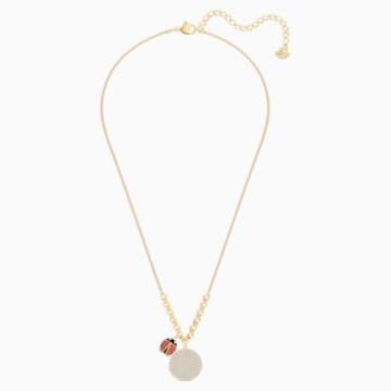 Lisabel Coin Necklace, Red, Gold-tone plated - Swarovski, 5498808