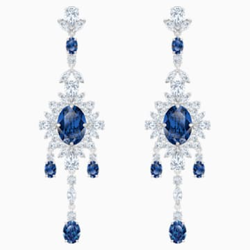 Palace Chandelier Pierced Earrings, Blue, Rhodium plated - Swarovski, 5498817