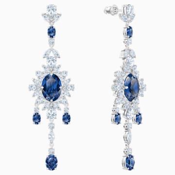 Boucles d'oreilles chandelier Palace, bleu, Métal rhodié - Swarovski, 5498817