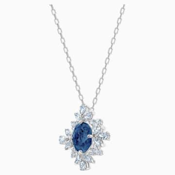 Palace 项链, 蓝色, 镀铑 - Swarovski, 5498831