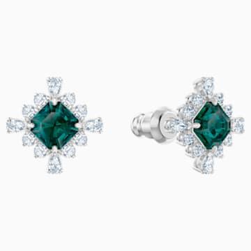 Palace 耳釘, 綠色, 鍍白金色 - Swarovski, 5498837