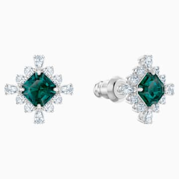 Palace Stud Pierced Earrings, Green, Rhodium plated - Swarovski, 5498837