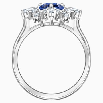 Palace 圖形戒指, 藍色, 鍍白金色 - Swarovski, 5498839
