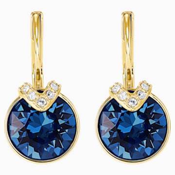 Bella V 穿孔耳环, 蓝色, 镀金色调 - Swarovski, 5498875