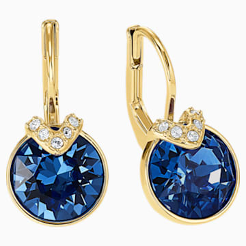 Bella V 穿孔耳環, 藍色, 鍍金色色調 - Swarovski, 5498875