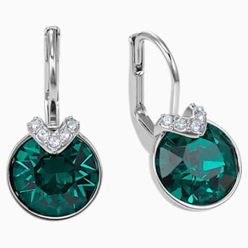 Bella V Pierced Earrings, Green, Rhodium plated - Swarovski, 5498876