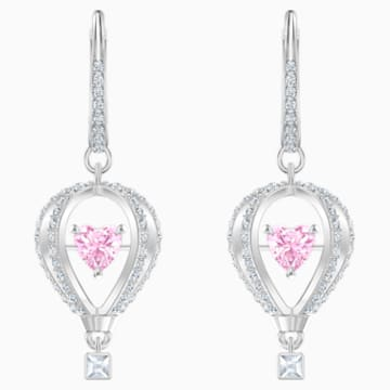 Into the Sky Drop Pierced Earrings, Pink, Rhodium plated - Swarovski, 5499528