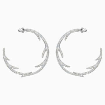 Polar Bestiary Hoop Pierced Earrings, Multi-coloured, Rhodium plated - Swarovski, 5499626