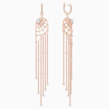 Pendientes chandelier Precisely, blanco, Baño en tono Oro Rosa - Swarovski, 5499889