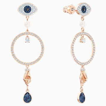 Swarovski Symbolic Hoop Pierced Earrings, Multi-coloured, Rose-gold tone plated - Swarovski, 5500642