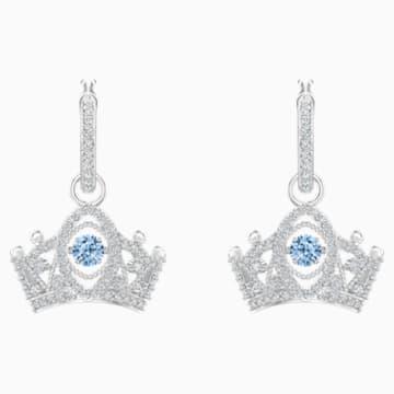 Bee A Queen 水滴形耳环, 蓝色, 镀铑 - Swarovski, 5501081