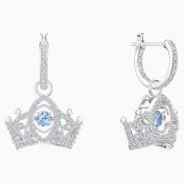 Bee A Queen Drop Pierced Earrings, Blue, Rhodium plated - Swarovski, 5501081
