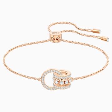 Pulsera Further, blanco, Baño en tono Oro Rosa - Swarovski, 5501092