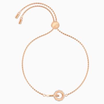 Náramek Further, Bílý, Pozlacený růžovým zlatem - Swarovski, 5501092