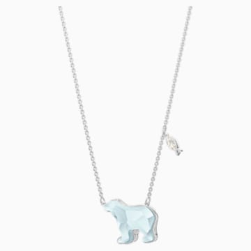 Polar Necklace, Light Blue, Rhodium plated - Swarovski, 5502673