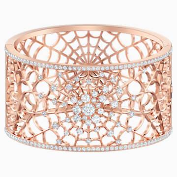 Precisely Cuff, White, Rose-gold tone plated - Swarovski, 5503825