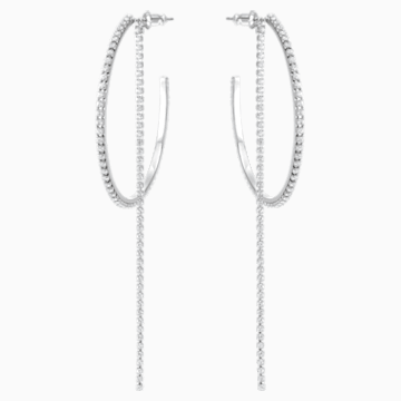 Fit 穿孔耳環, 白色, 不銹鋼 - Swarovski, 5504570