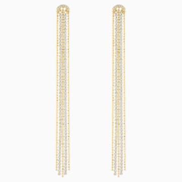 Fit Pierced Tassell Earrings, White, Gold-tone plated - Swarovski, 5504572