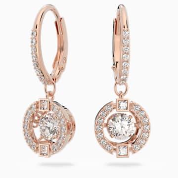 Swarovski Sparkling Dance 穿孔耳环, 白色, 镀玫瑰金色调 - Swarovski, 5504753