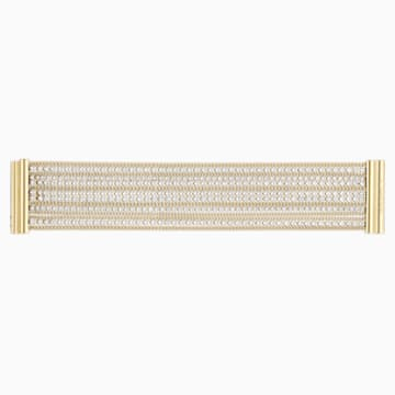 Pulsera ancha Fit, blanco, Baño en tono Oro - Swarovski, 5505333