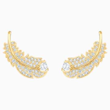 Nice İğneli Küpe, Beyaz, Altın rengi kaplama - Swarovski, 5505623