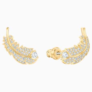 Nice stekker záras fülbevaló, fehér, aranyszínű bevonattal - Swarovski, 5505623