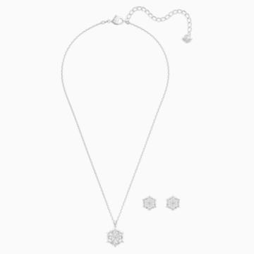 Set Magic Snowflake, bianco, Placcatura rodio - Swarovski, 5506235