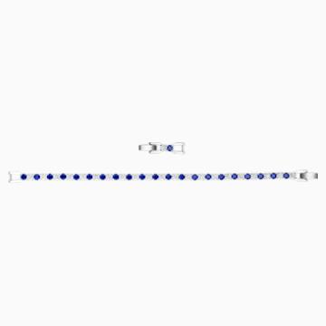 Tennis Deluxe 手鏈, 藍色, 鍍白金色 - Swarovski, 5506253