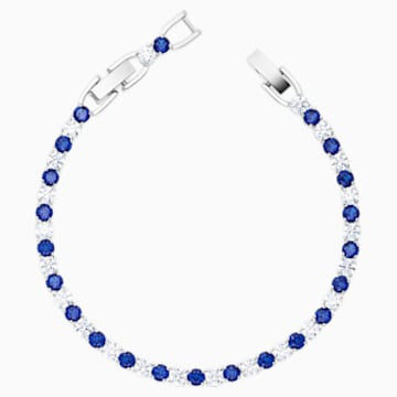 Pulsera Tennis Deluxe, azul, baño de rodio - Swarovski, 5506253