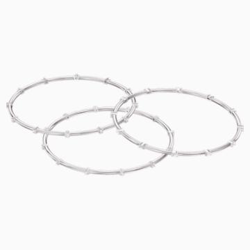 Moonsun Bangle Set, White, Rhodium plated - Swarovski, 5508875